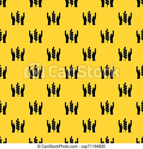 Hands and ear of wheat pattern vector - csp71194820