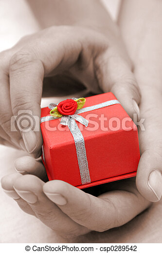Hands and Gift Sepia - csp0289542