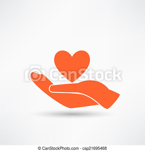 Hands and heart. Icon of kindness and charity - csp21695468