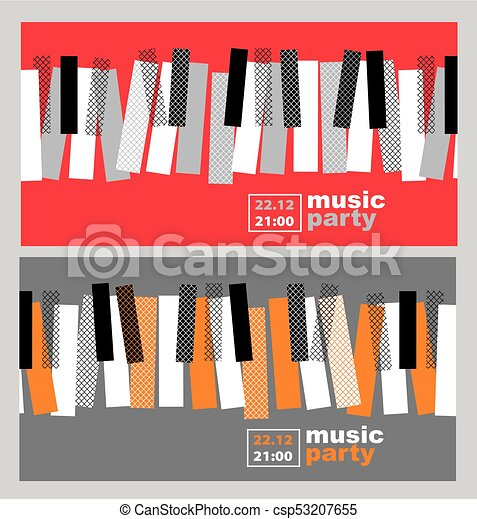Hands And Piano Keys Vector Illustration Modern Concept Jazz Concert Poster