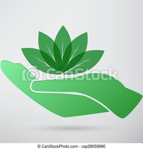 Hands and plant icon - csp28059990