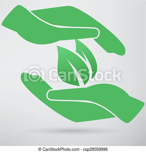 Hands and plant icon - csp28059996