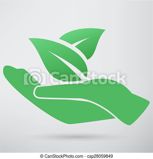 Hands and plant icon - csp28059849
