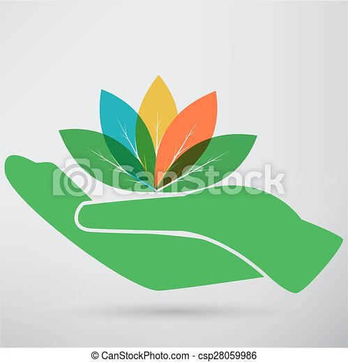 Hands and plant icon - csp28059986