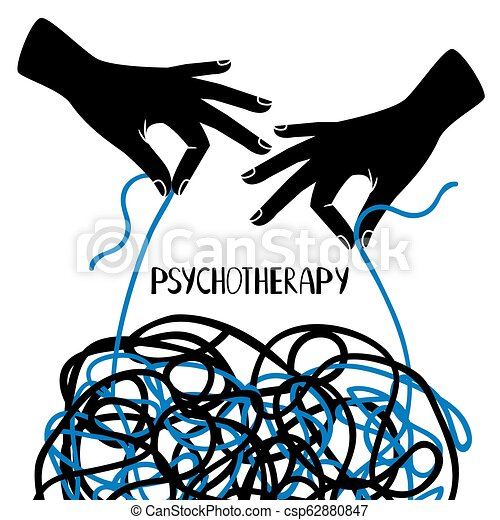 Hands And Tangled Thread Psychotherapy Image Psychotherapy Illustration With Hands And Tangled Thread Vector Illustration