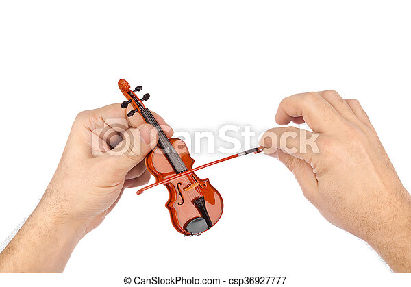 Hands and toy violin - csp36927777