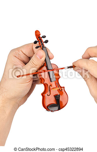 Hands and toy violin - csp45322894