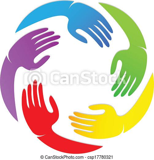 Hands around logo design - csp17780321