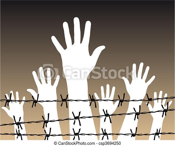hands behind a barbed wire prison - csp3694250