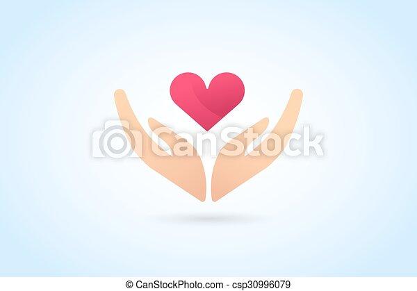 Hands care silhouette logo concept - csp30996079