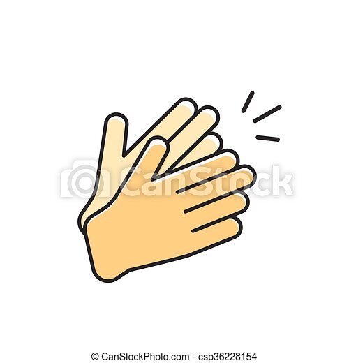 hands clapping vector icon applause flat cartoon outline clipart rh canstockphoto com clap clipart free clipart clap de fin