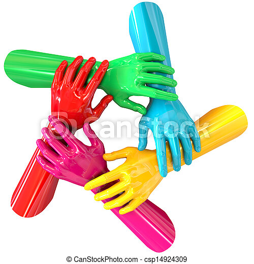 Hands Colorful Circle Holding Each Other Top - csp14924309