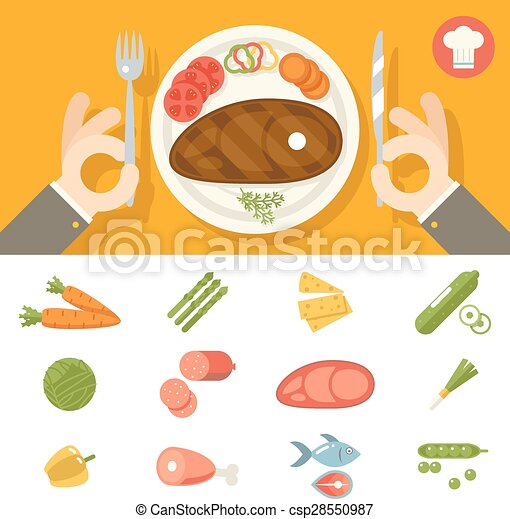 Hands cutlery Plate Food Icon Set Restaurant Promotion concept Symbol on Stylish Background Flat Design Vector Illustration - csp28550987