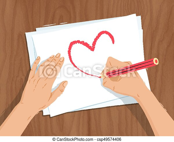 Line Drawing Heart Shape : Top view vector illustration of hands drawing heart shape