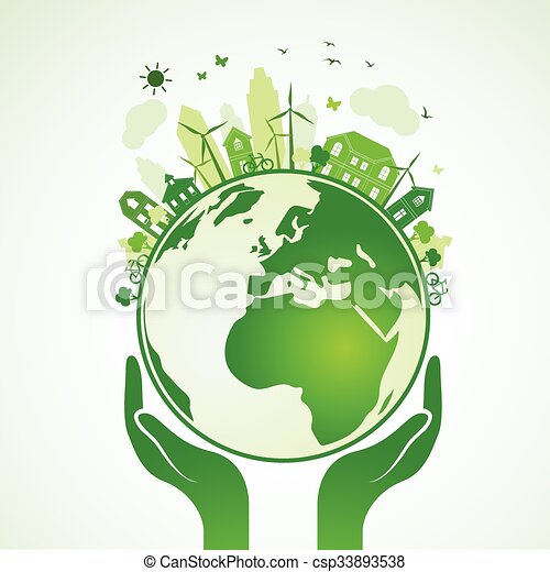 Hands Earth Hands Holding The Green Earth Globe With City Vector