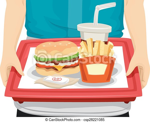 hands fast food tray cropped illustration of a person carrying a rh canstockphoto com Cafeteria Tray Clip Art Lunch Clip Art