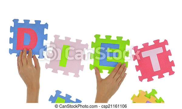 "Hands forming word ""Diet"" with jigsaw puzzle pieces isolated - csp21161106"