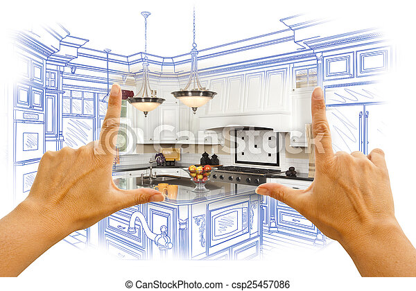 Hands Framing Custom Kitchen Design Drawing and Photo Combinatio - csp25457086