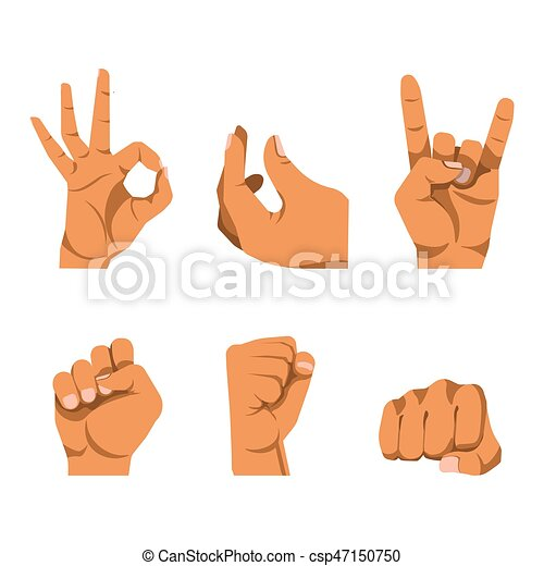 Hands gestures in six icons on white background - csp47150750