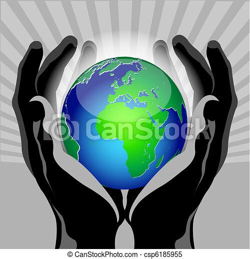 hands globe - csp6185955
