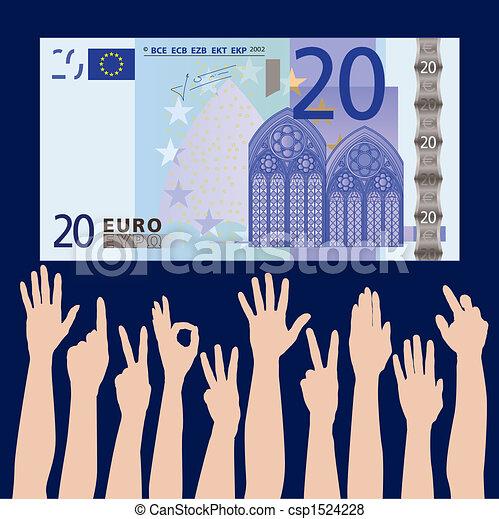 hands grab at a 20 euros - csp1524228