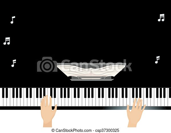 Hands grand piano. Illustration of a man using a grand piano ...