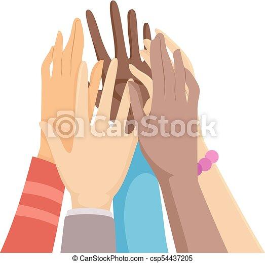 hands group hi five illustration illustration of hands going for a