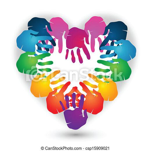 Hands heart shape logo vector - csp15909021
