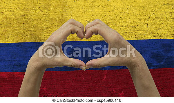 Hands Heart Symbol Colombian Flag With A Stylized Colombian Flag