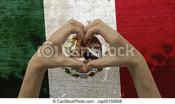 Hands Heart Symbol Mexico Flag With A Stylized Mexican Flag