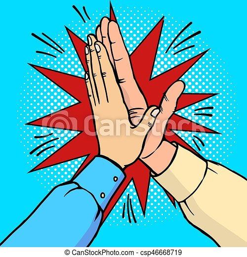 Hands high five pop art vector illustration - csp46668719