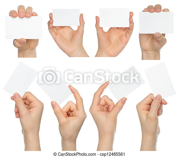 Hands hold business cards collage on white background - csp12485561