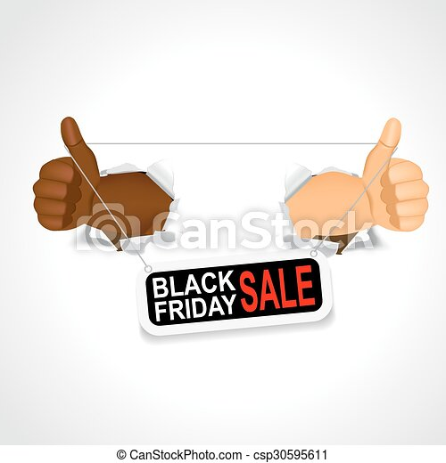 hands holding a black friday sale banner - csp30595611