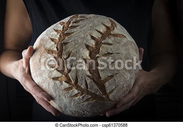Hands holding a homemade loaf of bread - csp61370588
