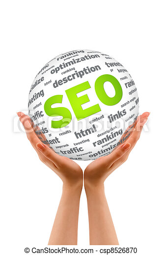 Hands holding a SEO Sphere - csp8526870