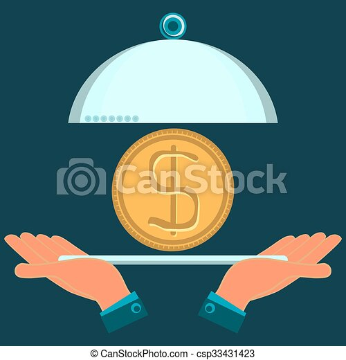 Hands Holding A Serving Dish With A Gold Dollar Coin Investments In