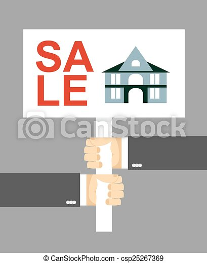 Hands holding a sign. House for sale - csp25267369