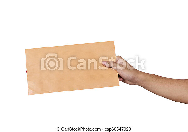 Hands holding brown envelope - csp60547920