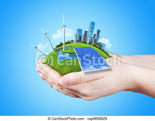 Hands holding clear green meadow - csp9856629