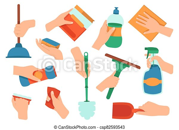 Hands Holding Detergent Cleaning Disinfection Housework Supplies In Hands Kitchen And Bath Washing Equipment Vector Canstock