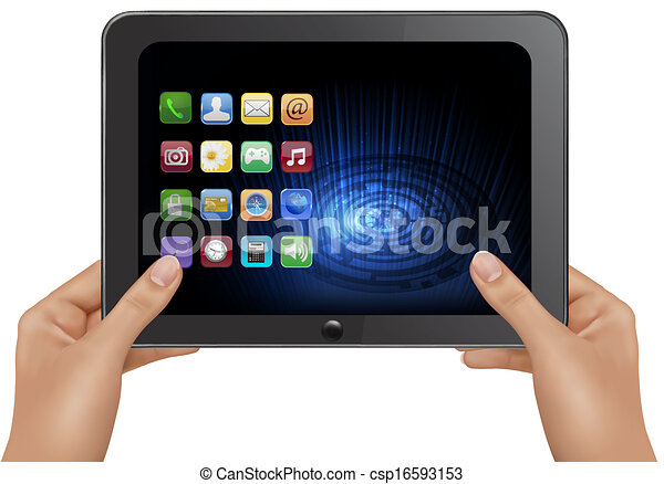 Hands holding digital tablet computer with icons. Vector illustration - csp16593153