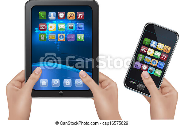 Hands holding digital tablet computer with icons. Vector illustration - csp16575829