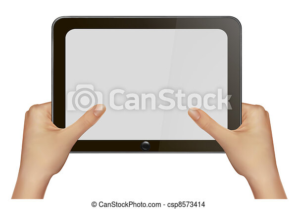 Hands holding digital tablet pc. - csp8573414
