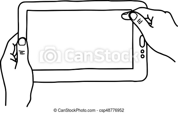 Hands holding digital tablet pc - vector illustration ... Tablet Clipart Black And White