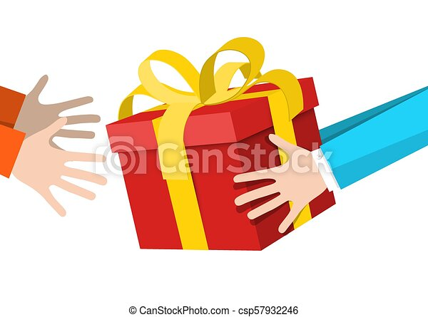 Hands Holding Gift Box - Delivery Service Symbol. - csp57932246