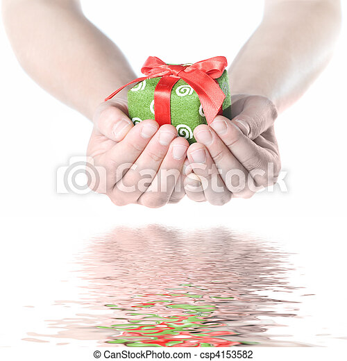 Hands holding gift with reflection isolated on white - csp4153582