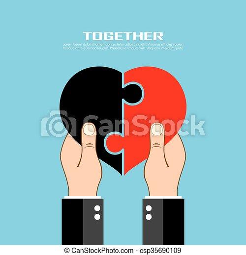 Hands holding heart shape - csp35690109