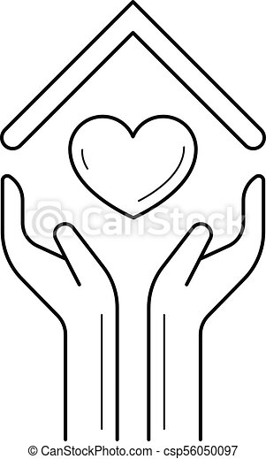 Hands Holding House Symbol With Heart Line Icon Hands Holding House