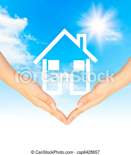 Hands holding model of a house - csp6428657