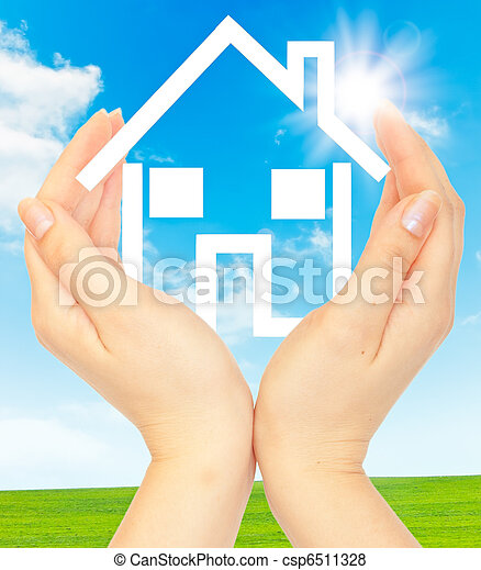 Hands holding model of a house - csp6511328
